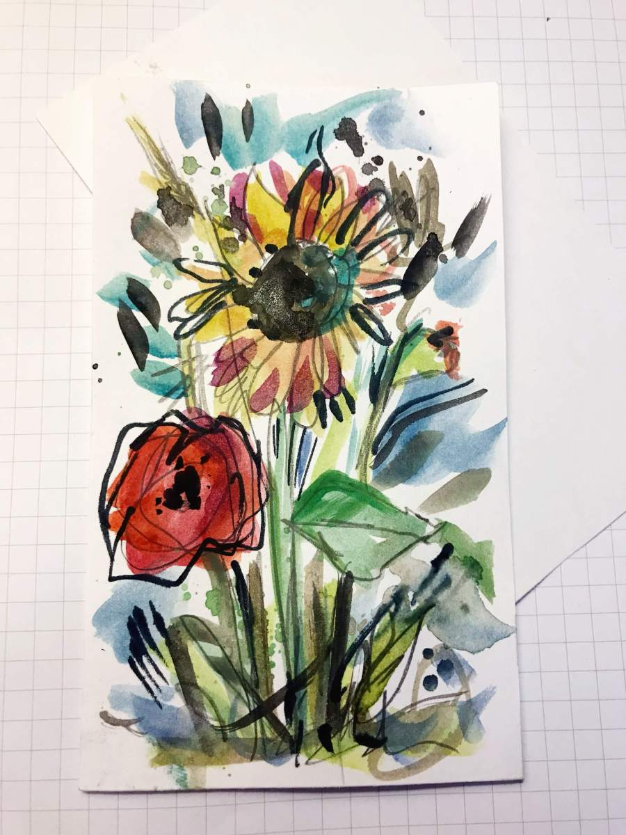 Quick Art Wednesday | Easy-breezy floral index cards